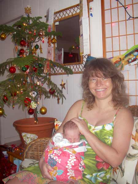 Sonja and Leilani in front of the Christmas tree