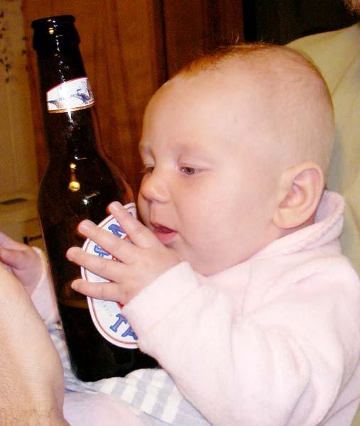 licking beer bottle 1