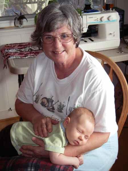 Leilani, 6 weeks old, with Grandma Rosemary