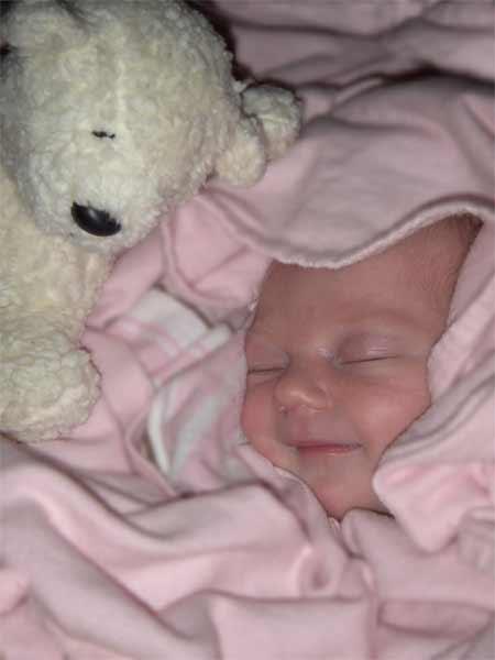 Leilani 8 days old smiling