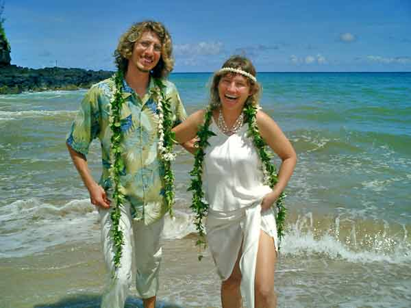 Sonja and Andy at our wedding wearing leis